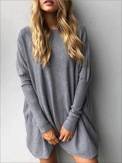 Womens Grey Oversized Long Sleeve Tunic - Grey / S - Womens Tops