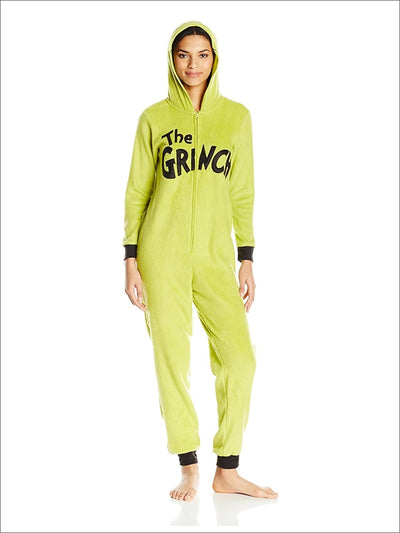 Womens Grinch Onesie Pajama Costume Union Suit - L / Yellow