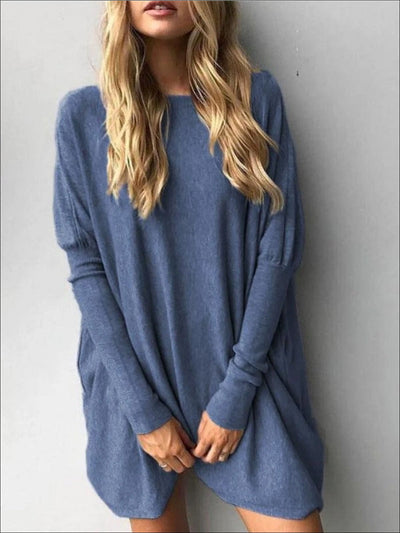 Womens Heather Blue Oversized Long Sleeve Tunic - Heather Blue / S - Womens Tops