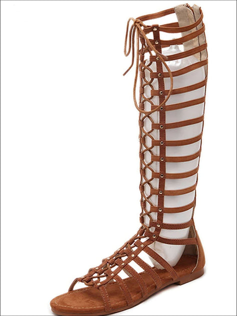 Women's Knee High Lace Up Gladiator