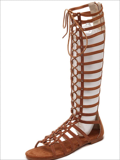 Womens Knee High Lace Up Gladiator Sandals - Womens Sandals