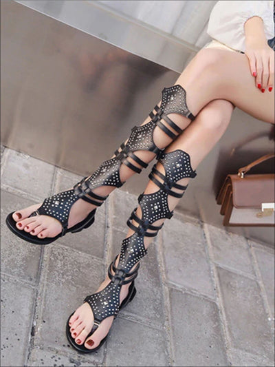 Womens Knee Length Embellished Gladiator Sandals - Womens Sandals