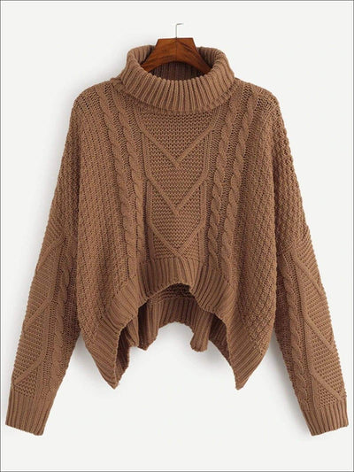 Womens Knit Asymmetrical Hem Sweater - Brown / S - Womens Fall Sweaters