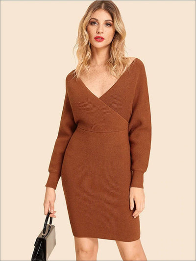 Womens Knit Batwing Casual Sweater Dress - Womens Fall Dresses