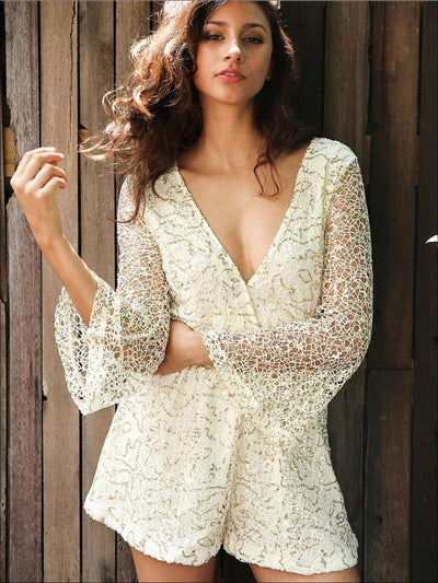 Womens Lace Gold Sequin Hollow Out Romper - Womens Jumpsuits