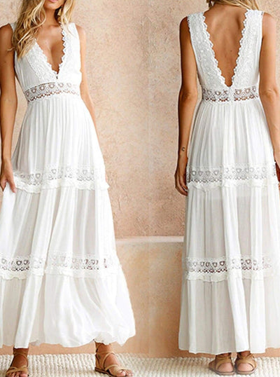 Womens Lace Hollow Out Backless Maxi Dress - Womens Dresses