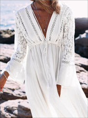 Womens Lace Maxi Plunge Cover Up With Drawstring - Womens Swimsuit