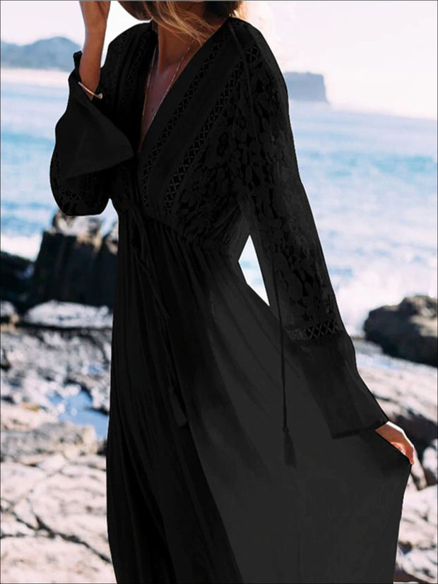 Womens Lace Maxi Plunge Cover Up With Drawstring - Black / One - Womens Swimsuit