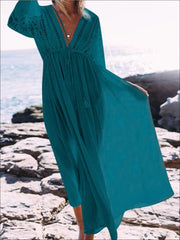 Womens Lace Maxi Plunge Cover Up With Drawstring - Teal / One - Womens Swimsuit