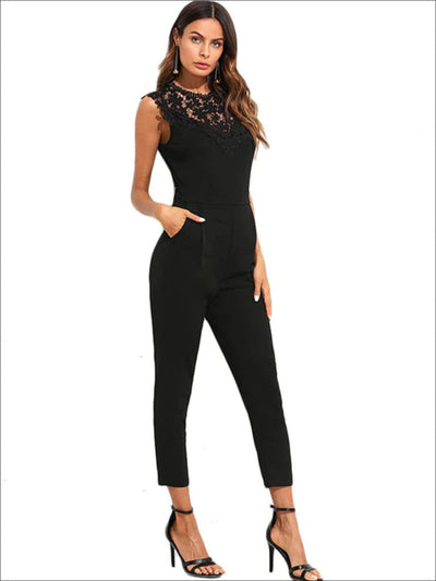Womens Lace Sleeveless Jumpsuit With Side Pockets - Black / XS - Womens Jumpsuits