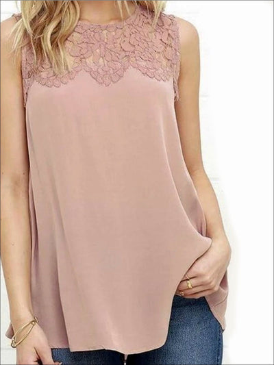 Womens Lace Trim Tank - Dusty Pink / Small