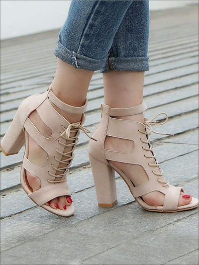 Womens Lace Up Chunky Heel Sandals - Womens Sandals