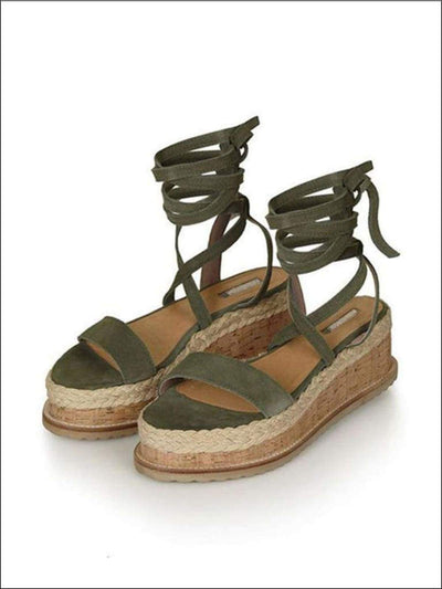 Womens Lace Up Espadrilles Platform Sandals - Green / 4 - Womens Sandals