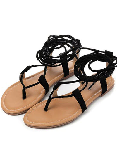 Womens Lace Up Greek Sandals (3 Color Options) - Black / 3 - Womens Sandals
