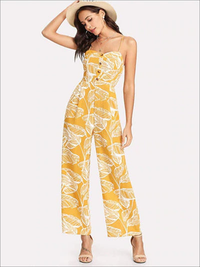 Womens Leaf Print Wide Leg Buttoned Jumpsuit - Yellow / XS - Womens Jumpsuits