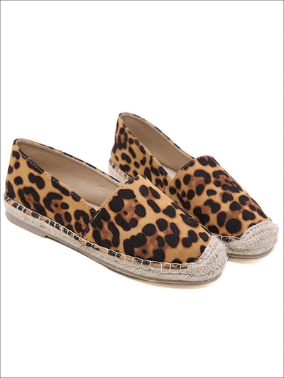 Womens Leopard Print Espadrilles Loafer Shoes - Womens Shoes