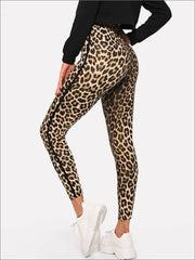 Womens Leopard Print High Waist Casual Leggings - Womens Bottoms