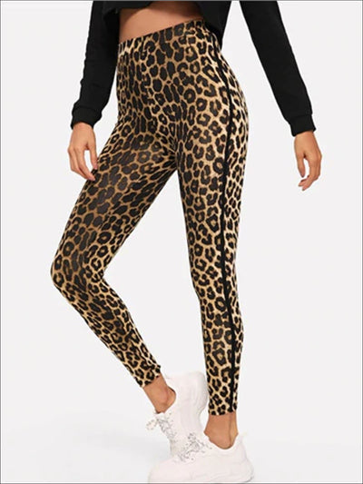 Womens Leopard Print High Waist Casual Leggings - Multicolor / XS - Womens Bottoms