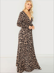 Womens Leopard Print Long Sleeve Wrap Maxi Dress - Womens Fall Dresses