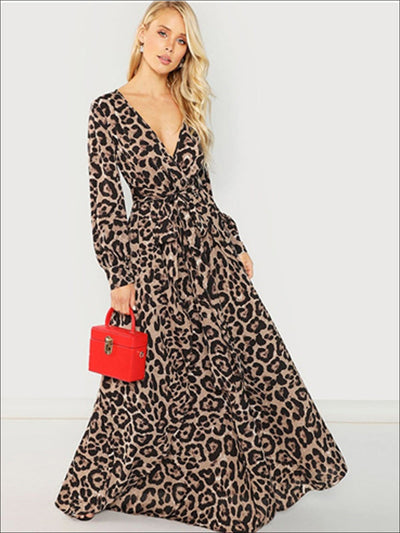 Womens Leopard Print Long Sleeve Wrap Maxi Dress - Multicolor / XS - Womens Fall Dresses