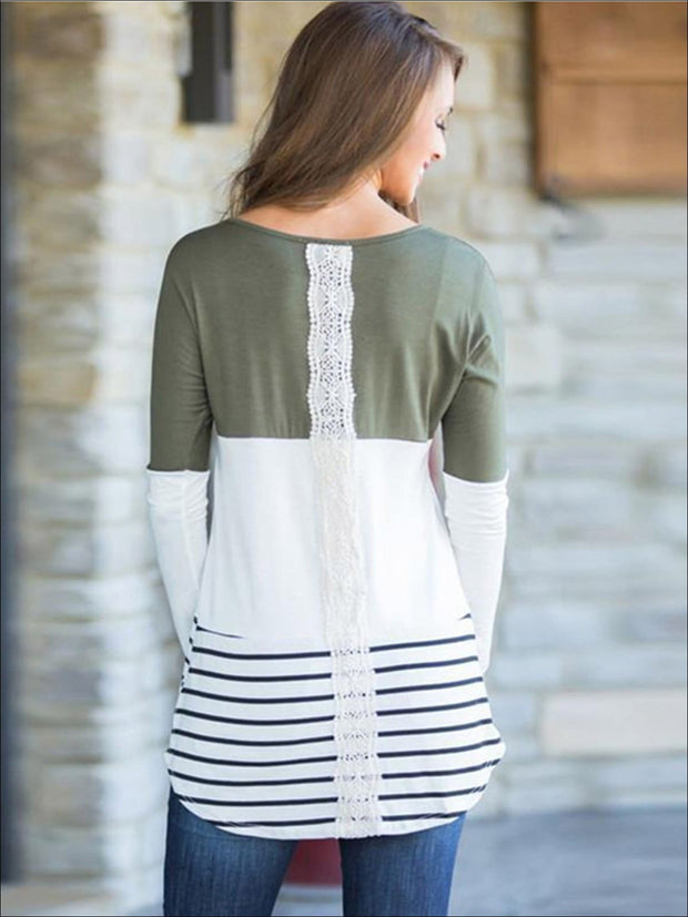 Womens Long Sleeve Lace Back Applique Striped Tunic - Womens Tops