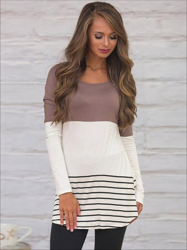 Womens Long Sleeve Lace Back Applique Striped Tunic - Brown / S - Womens Tops