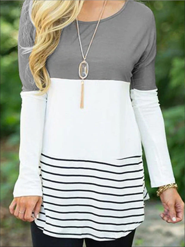Womens Long Sleeve Lace Back Applique Striped Tunic - Grey / S - Womens Tops