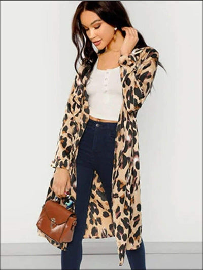Womens Long Sleeve Leopard Print Cardigan - Womens Outerwear