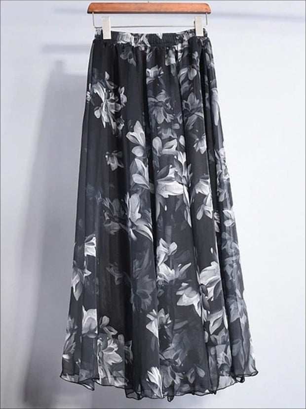 Womens Loose Flare Floral Maxi Skirt - Womens Bottoms
