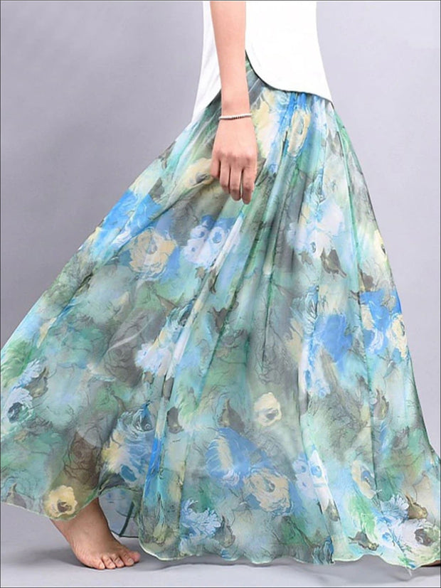 Womens Loose Flare Floral Maxi Skirt - Blue / One Size - Womens Bottoms