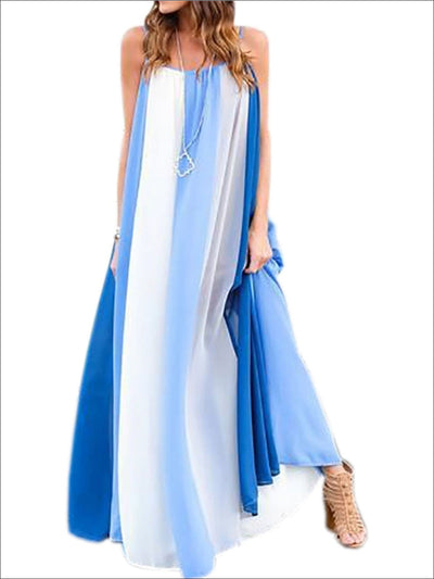 Womens Loose Striped Chiffon Maxi Dress - Blue / S - Womens Dresses