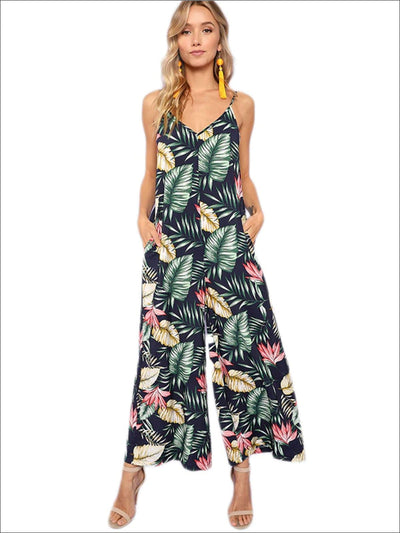 Womens Loose Tropical Print Wide Leg Boho Jumpsuit - Navy / XS - Womens Jumpsuits