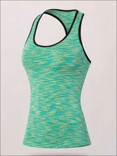 Womens Marled Racerback Active Top - Mint / S - Womens Activewear