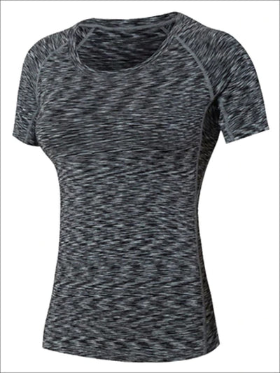 Womens Marled Sweat-Wicking Active Top - Black / S - Womens Activewear