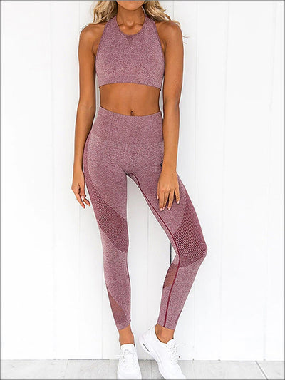 Womens Mesh Panel Sports Bra & Leggings Set - Pink / S - Womens Activewear