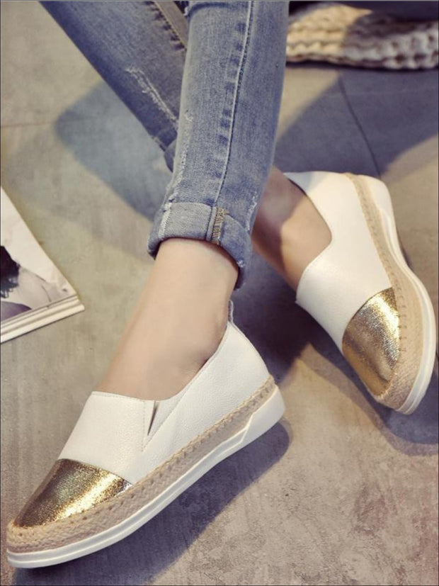 Womens Metallic Espadrille Slip On Shoes - Womens Shoes