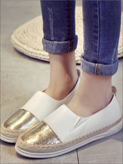 Womens Metallic Espadrille Slip On Shoes - Gold / 5 - Womens Shoes