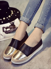 Womens Metallic Espadrille Slip On Shoes - Gold Black / 5 - Womens Shoes