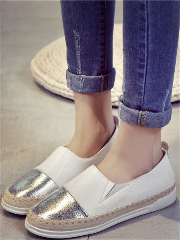 Womens Metallic Espadrille Slip On Shoes - Silver / 5 - Womens Shoes