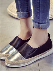 Womens Metallic Espadrille Slip On Shoes - Silver Black / 5 - Womens Shoes