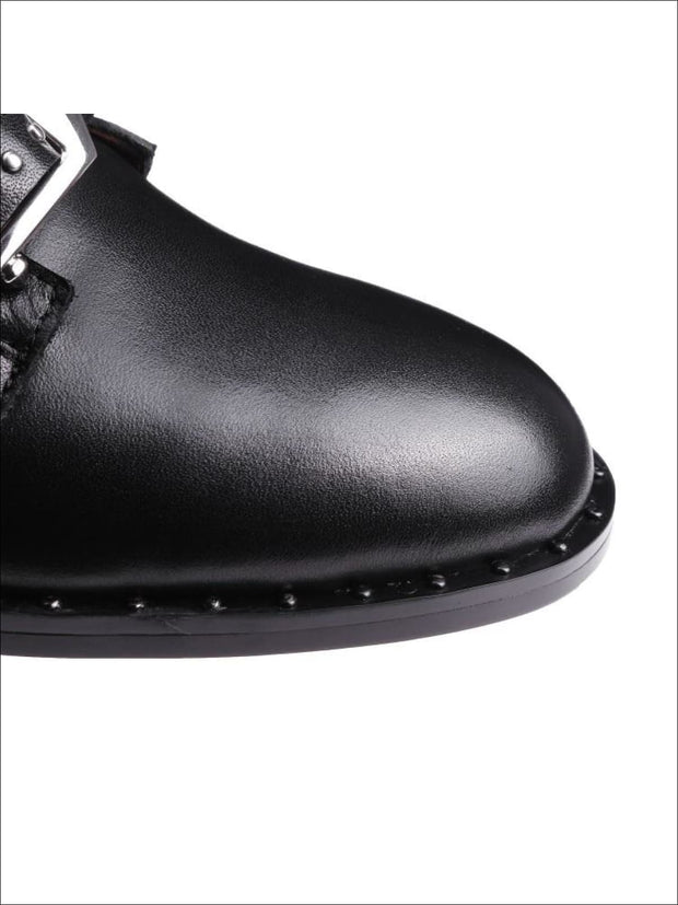 Womens Modern Synthetic Leather Rivet Ankle Boots - Womens Boots