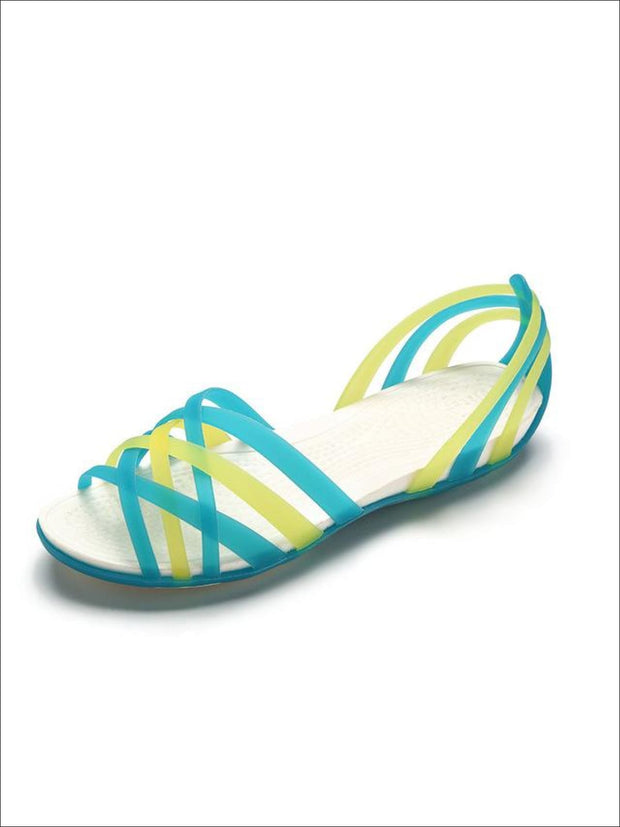 Womens Multicolor Open Toe Jelly Sandals - Green / 5 - Womens Sandals