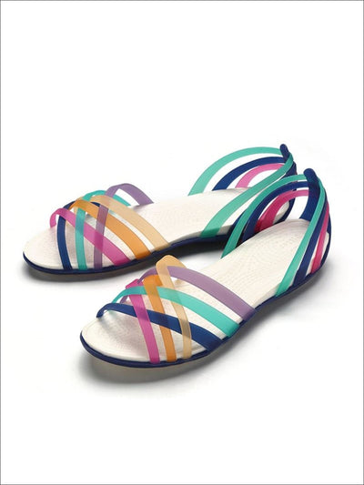 Womens Multicolor Open Toe Jelly Sandals - Navy / 5 - Womens Sandals