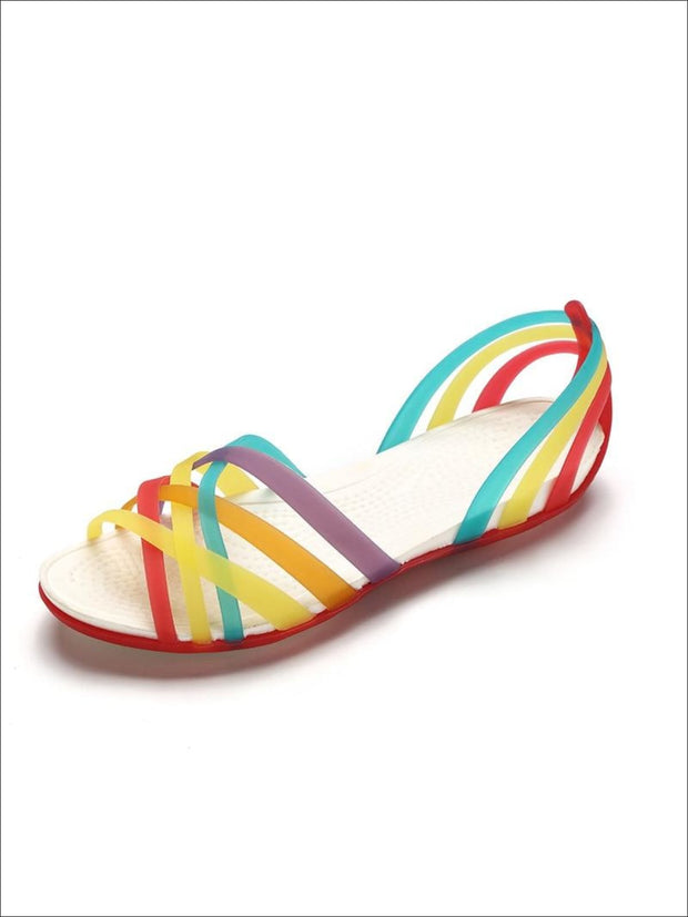 Womens Multicolor Open Toe Jelly Sandals - Red / 5 - Womens Sandals