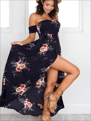 Womens Navy Floral Off Shoulder Front Slit Maxi Dress - Womens Dresses