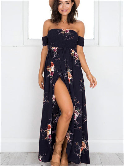 Womens Navy Floral Off Shoulder Front Slit Maxi Dress - Navy Floral / S - Womens Dresses