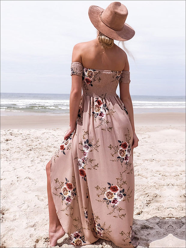 Womens Off Shoulder Khaki Floral Beach Maxi Beach Dress with Side Slit - Womens Dresses