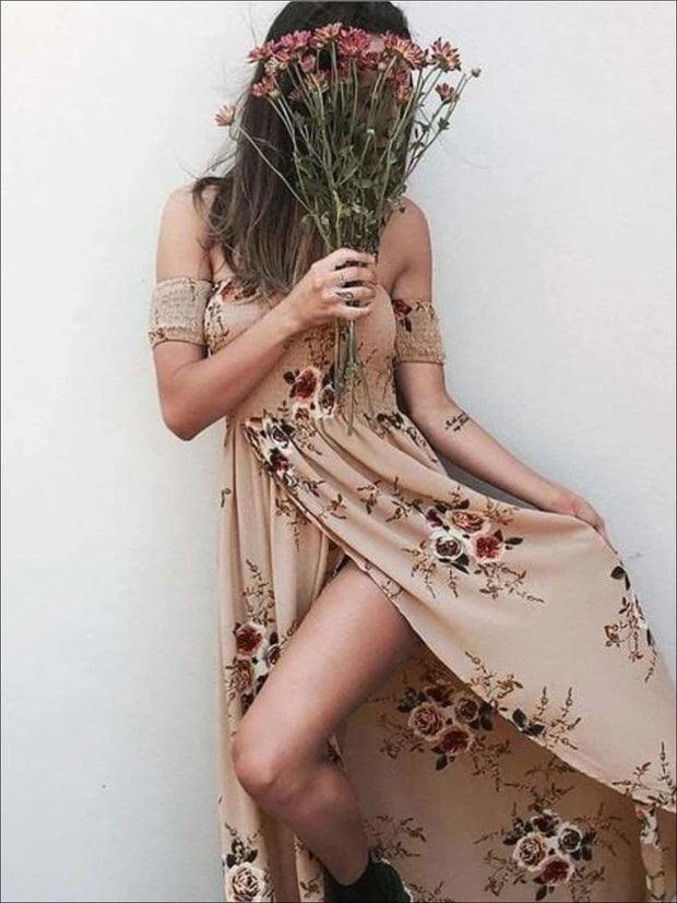 Womens Off Shoulder Khaki Floral Beach Maxi Beach Dress with Side Slit - Brown / S - Womens Dresses