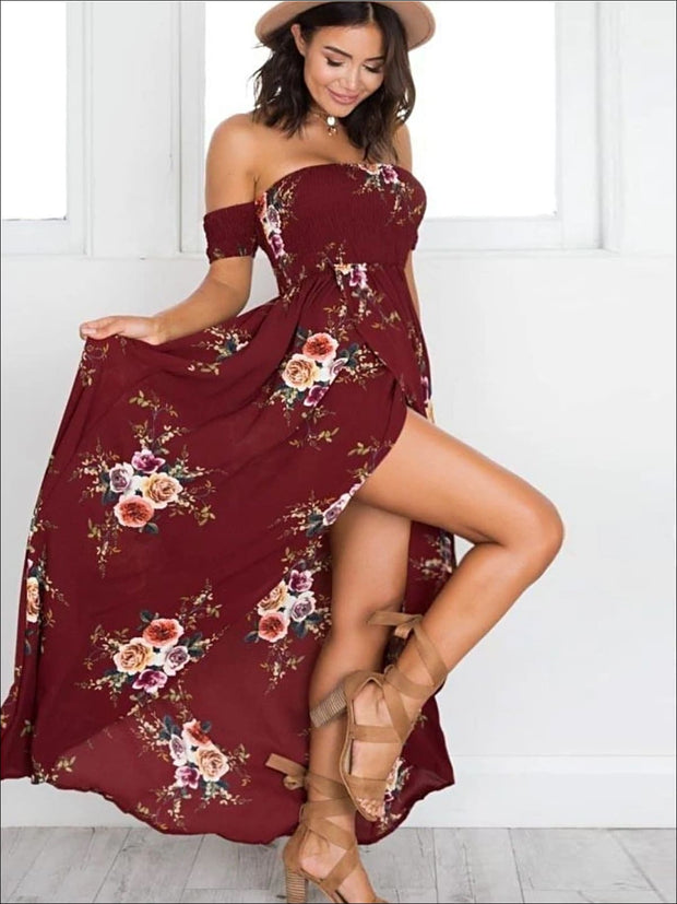 Womens Off Shoulder Wine Floral Beach Maxi Dress with Side Slit - Womens Dresses
