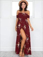 Womens Off Shoulder Wine Floral Beach Maxi Dress with Side Slit - Wine / S - Womens Dresses